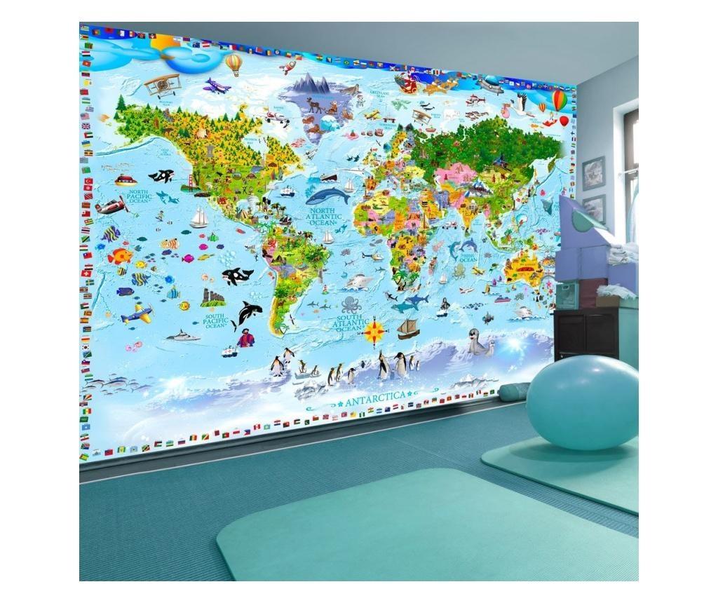 World Map For Kids Fotótapéta 245x350 cm