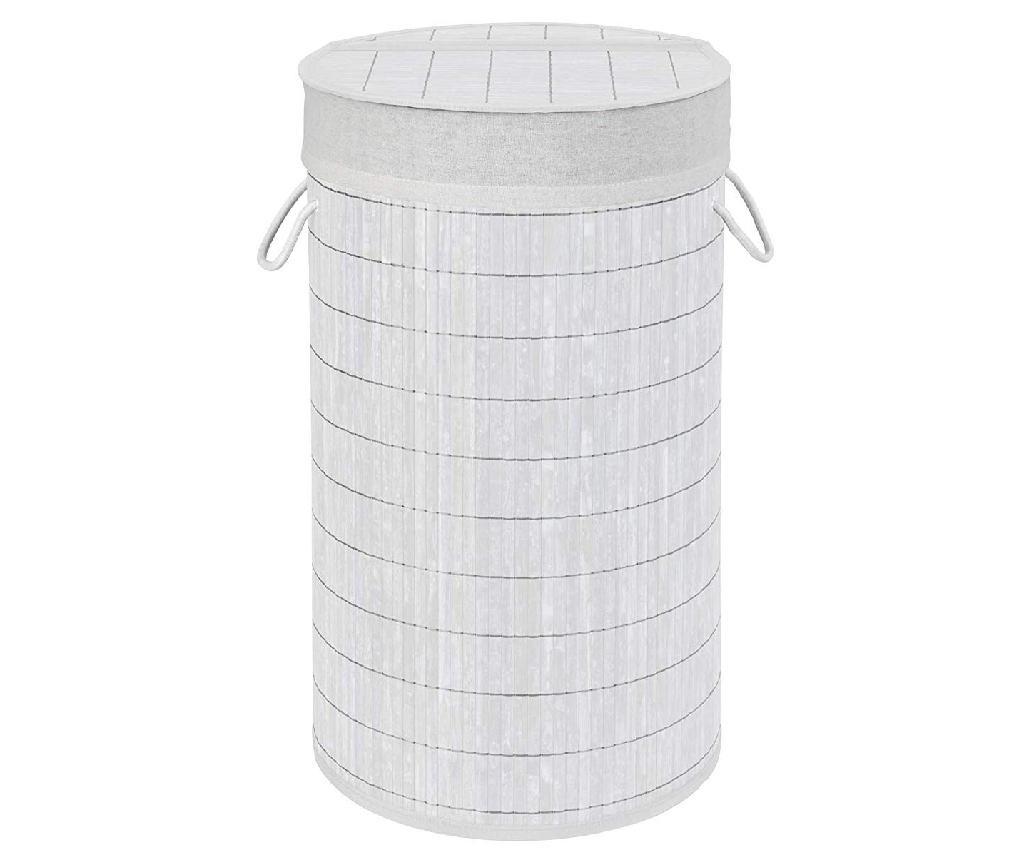 Koš za perilo s pokrovom Bamboo Natural White 55 L