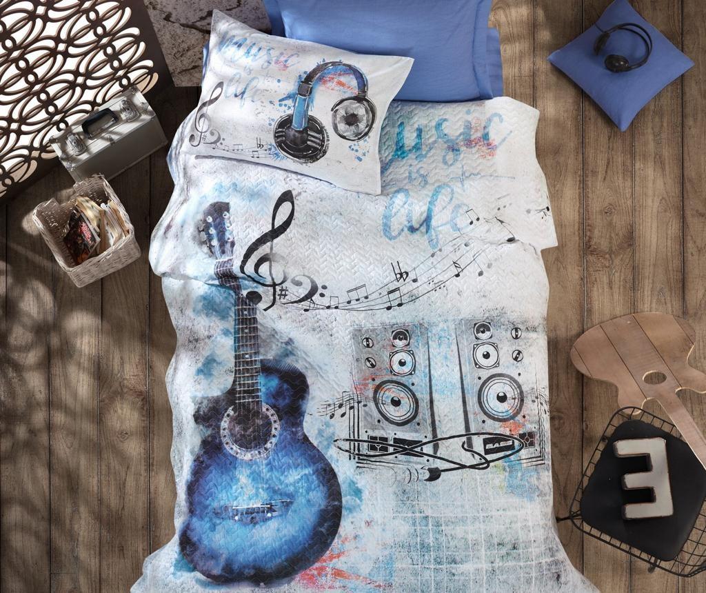 Set cuvertura matlasata Single Guitar Blue