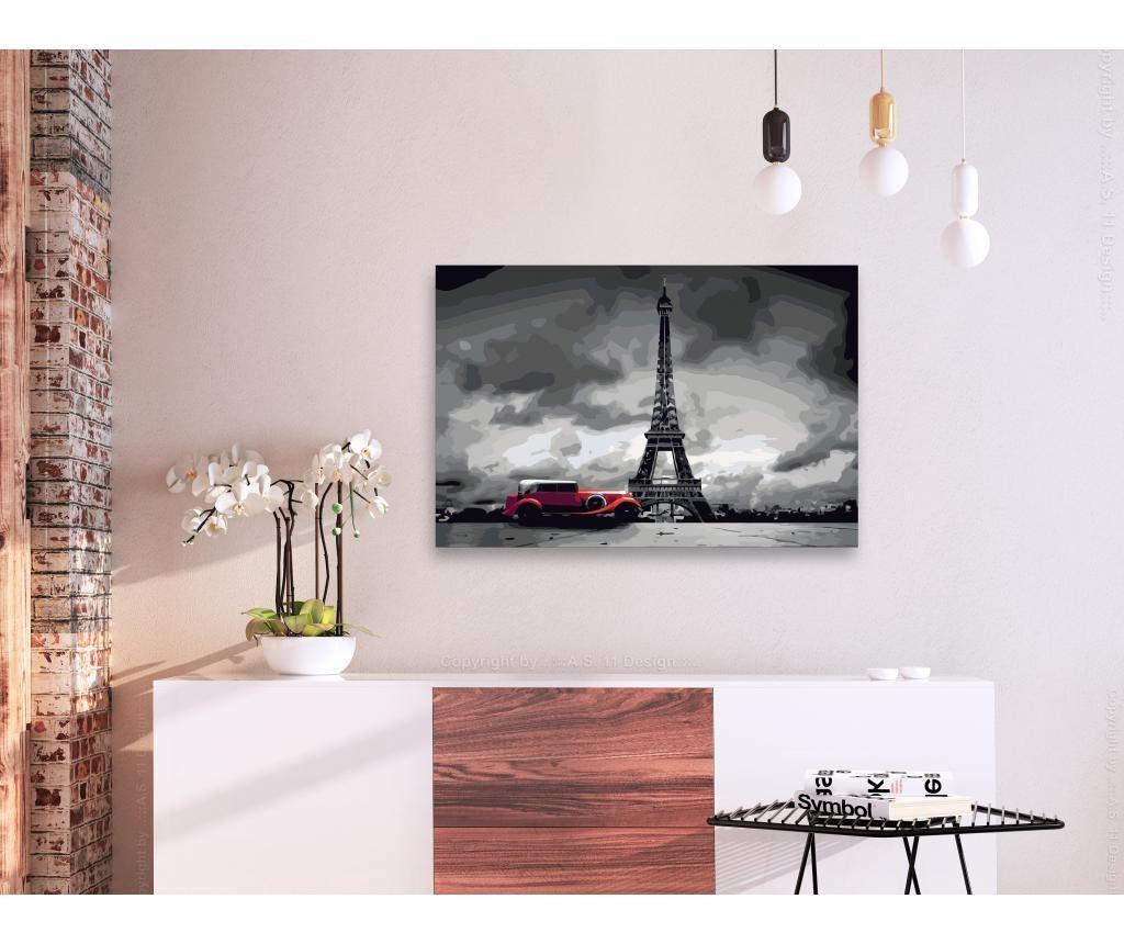 Kit tablou canvas DIY dupa numere Paris (Red Limousine) 40x60 cm