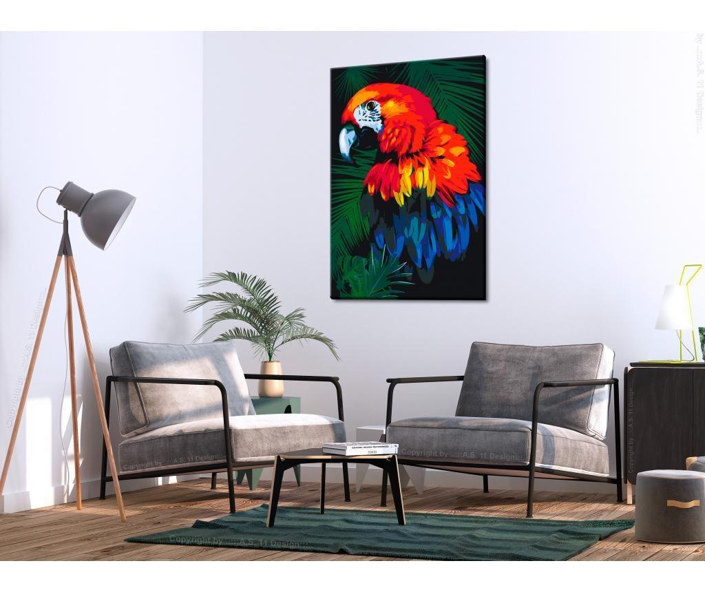 Kit tablou canvas DIY dupa numere Parrot 40x60 cm