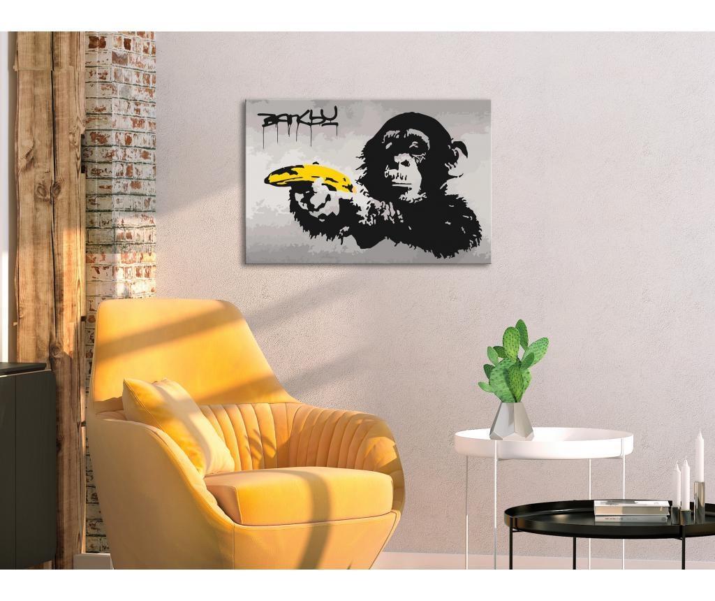 Kit tablou canvas DIY dupa numere Monkey (Banksy Street Art Graffiti) 40x60 cm