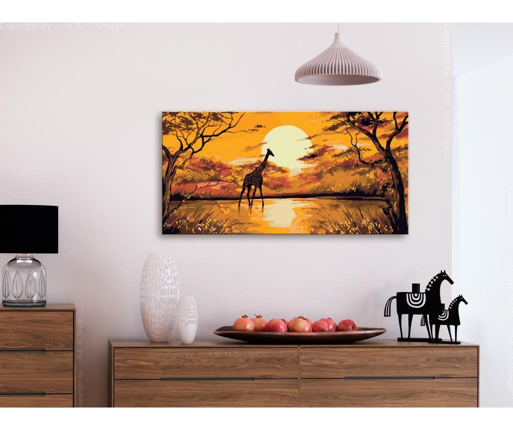 Giraffe at Sunset DIY kanavász kép 40x80 cm