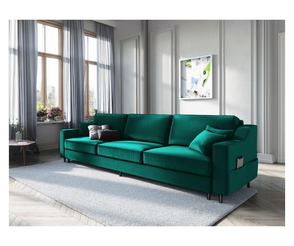 Amaryllis Bottle Green Kihúzható háromszemélyes kanapé