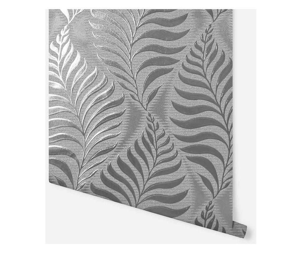 Tapeta Foil Embossed Leaf Silver 53x1005 cm